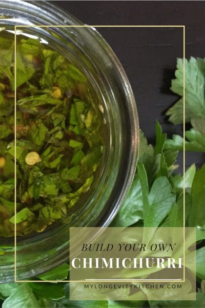 Build your own chimichurri sauce for convenience and incredible flavor. This sauce has so many applications, from marinade to salad dressing to dipping sauce. Make it the authentic way, use dried herbs or fresh; endless possibilities. Recipe by Marisa Moon of My Longevity Kitchen